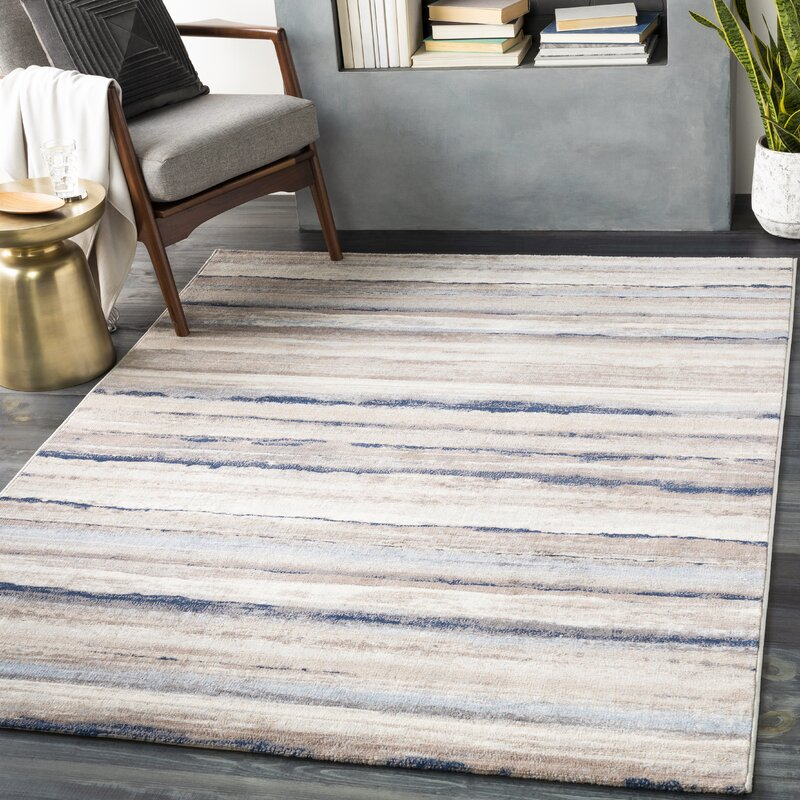 Dovecove Manitoga Striped Navy Beige Area Rug Reviews Wayfair