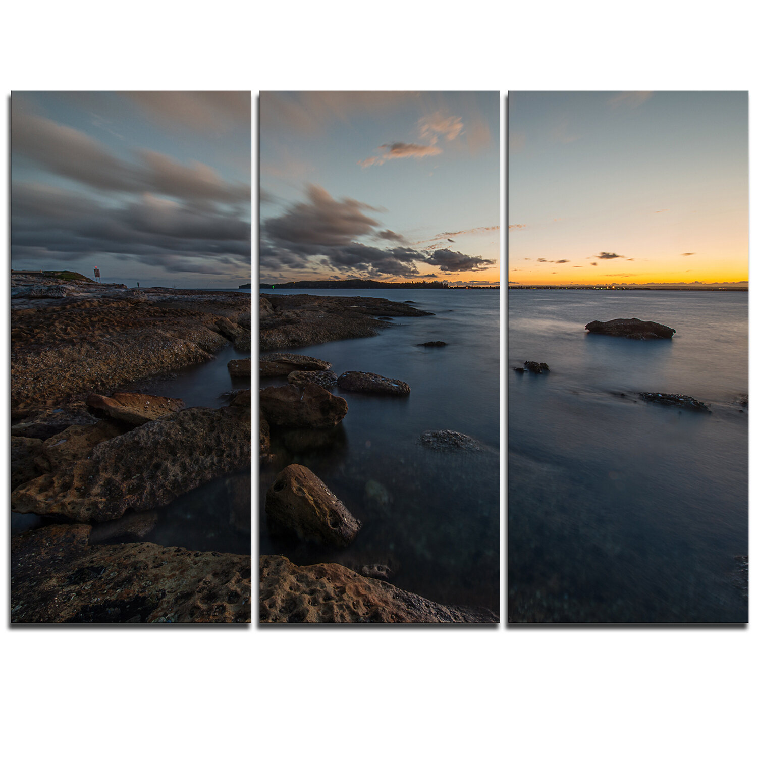 Designart Sunset At La Perouse Beach Sydney 3 Piece Photographic Art On Wrapped Canvas Set Wayfair