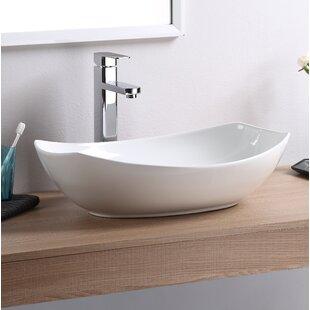 Vitreous China Oval Vessel Bathroom Sink