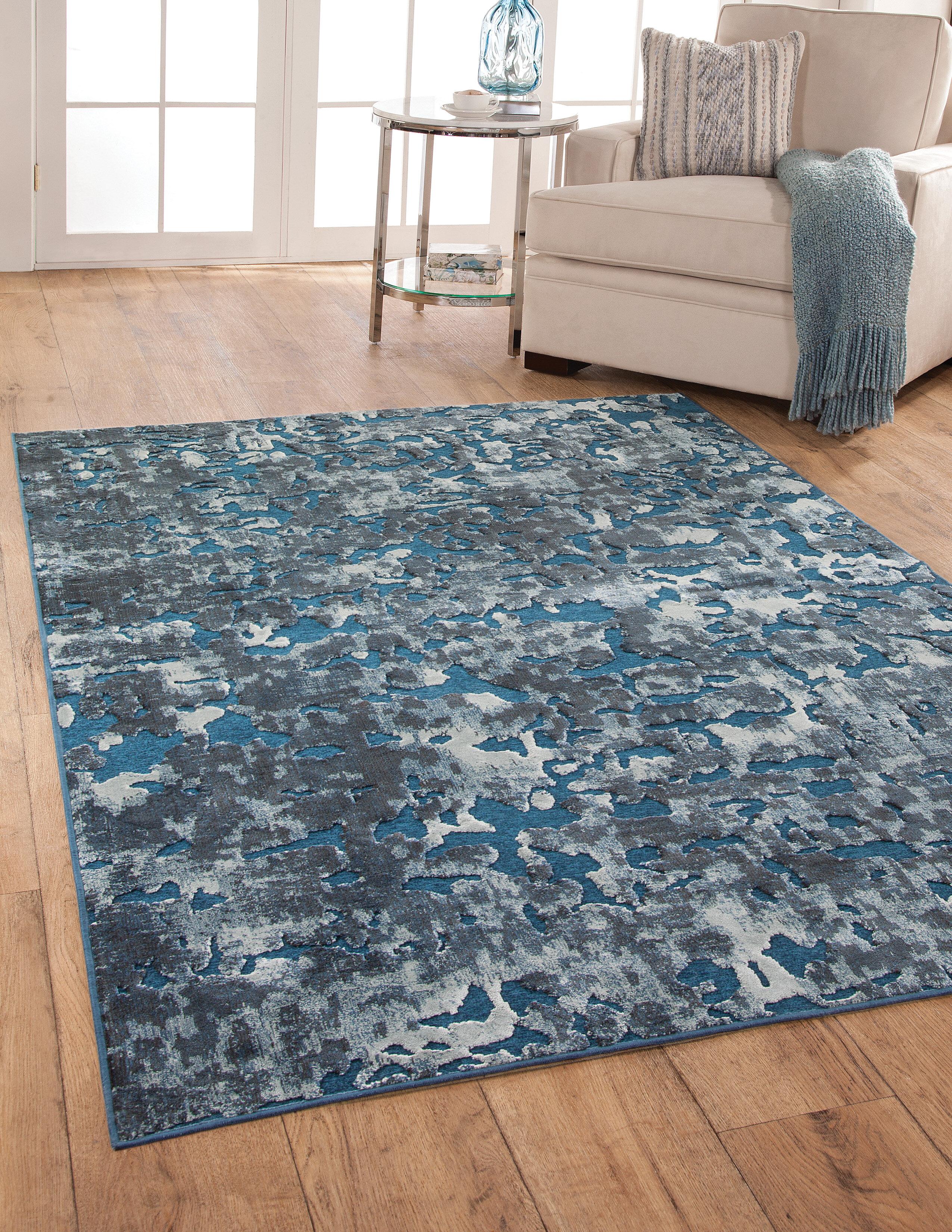 Brayden Studio Teague Abstract Blue Ivory Area Rug Wayfair
