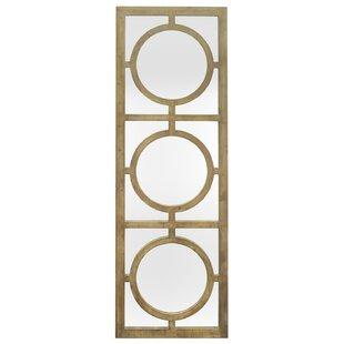 Three Hands Co. Circle Overlay Detail Wood Wall Mirror