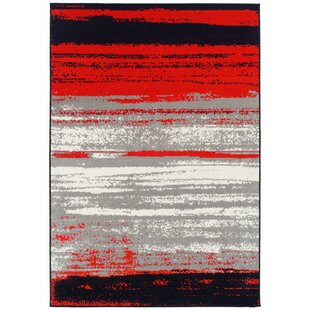Grieco Contemporary Red/Black Indoor/Outdoor Area Rug