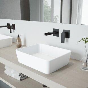 Marigold Stone Rectangular Vessel Bathroom Sink with Faucet VIGO