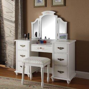 A&J Homes Studio Torian Vanity Set with Mirror