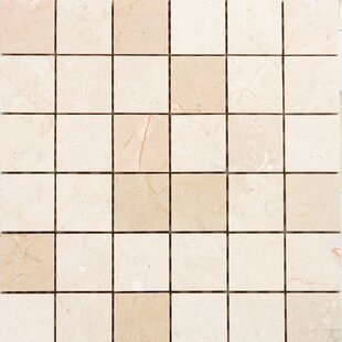 """2"""" x 2"""" Marble Mosaic Tile in Polished Crema marfil by"""