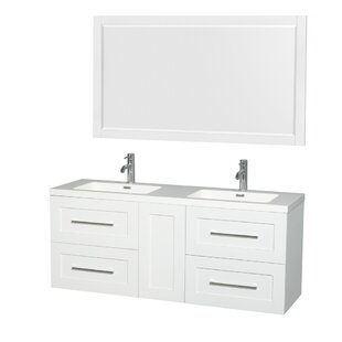 Great Price Olivia 60 Double Satin White Bathroom Vanity Set with Mirror ByWyndham Collection