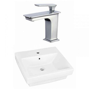 Top Ceramic Rectangular Bathroom Sink with Faucet and Overflow ByAmerican Imaginations