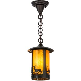 Meyda Tiffany Greenbriar Oak 1-Light Lantern Pendant