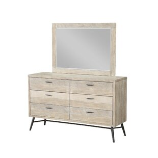 Laquita 6 Drawer Double Dresser with Mirror