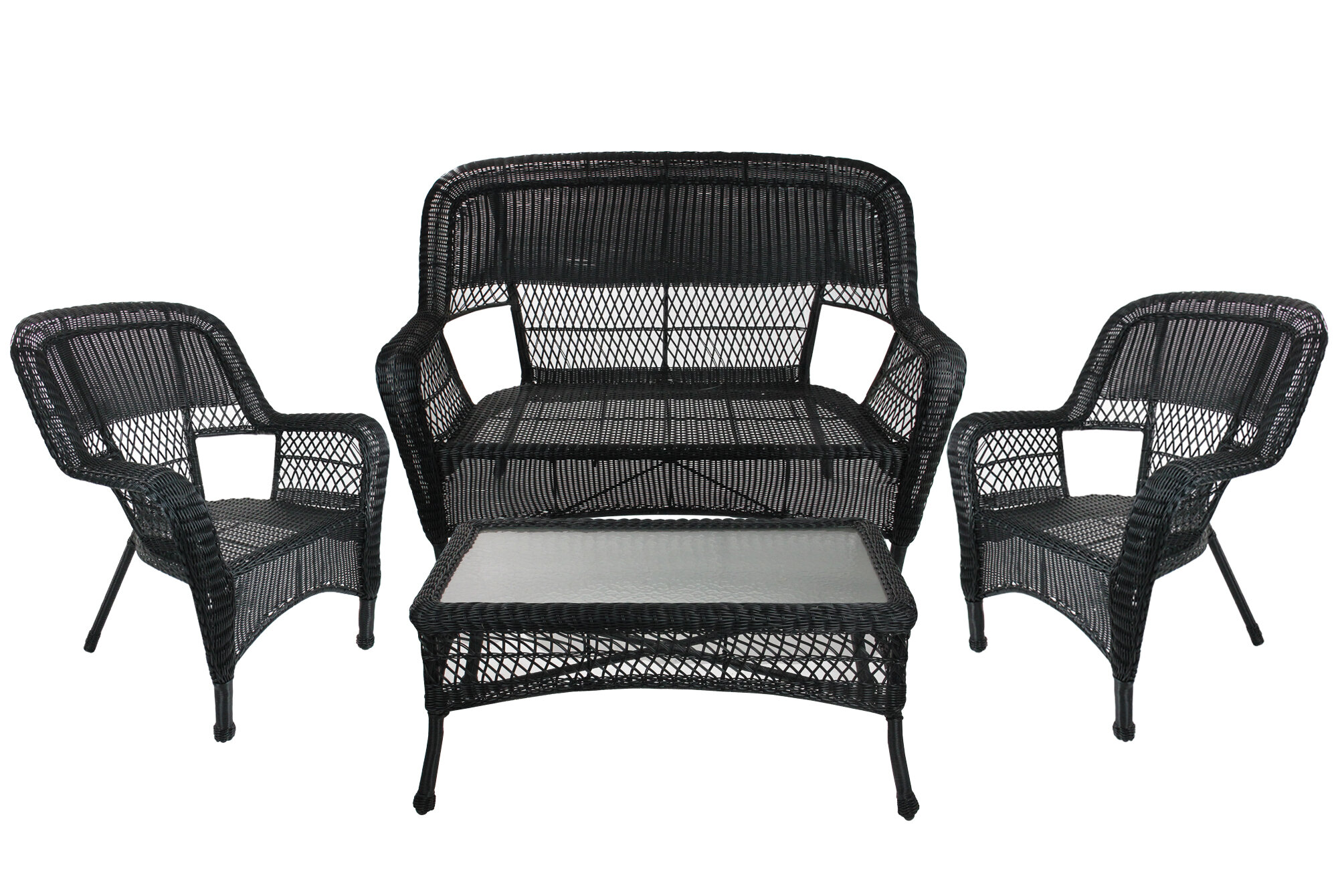 Northlight 4-Piece Black Steel Resin Outdoor Patio Furniture Set
