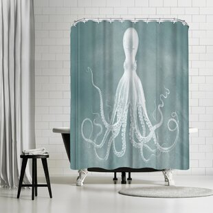 Find Adams Ale Mil Lenial White Octo Shower Curtain ByEast Urban Home