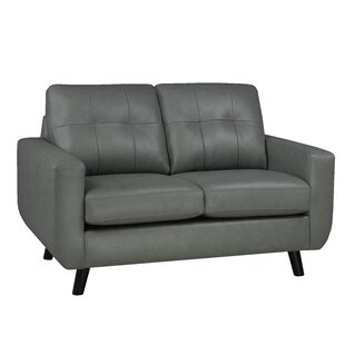 Lathrop Genuine Leather Loveseat by Brayden Studio
