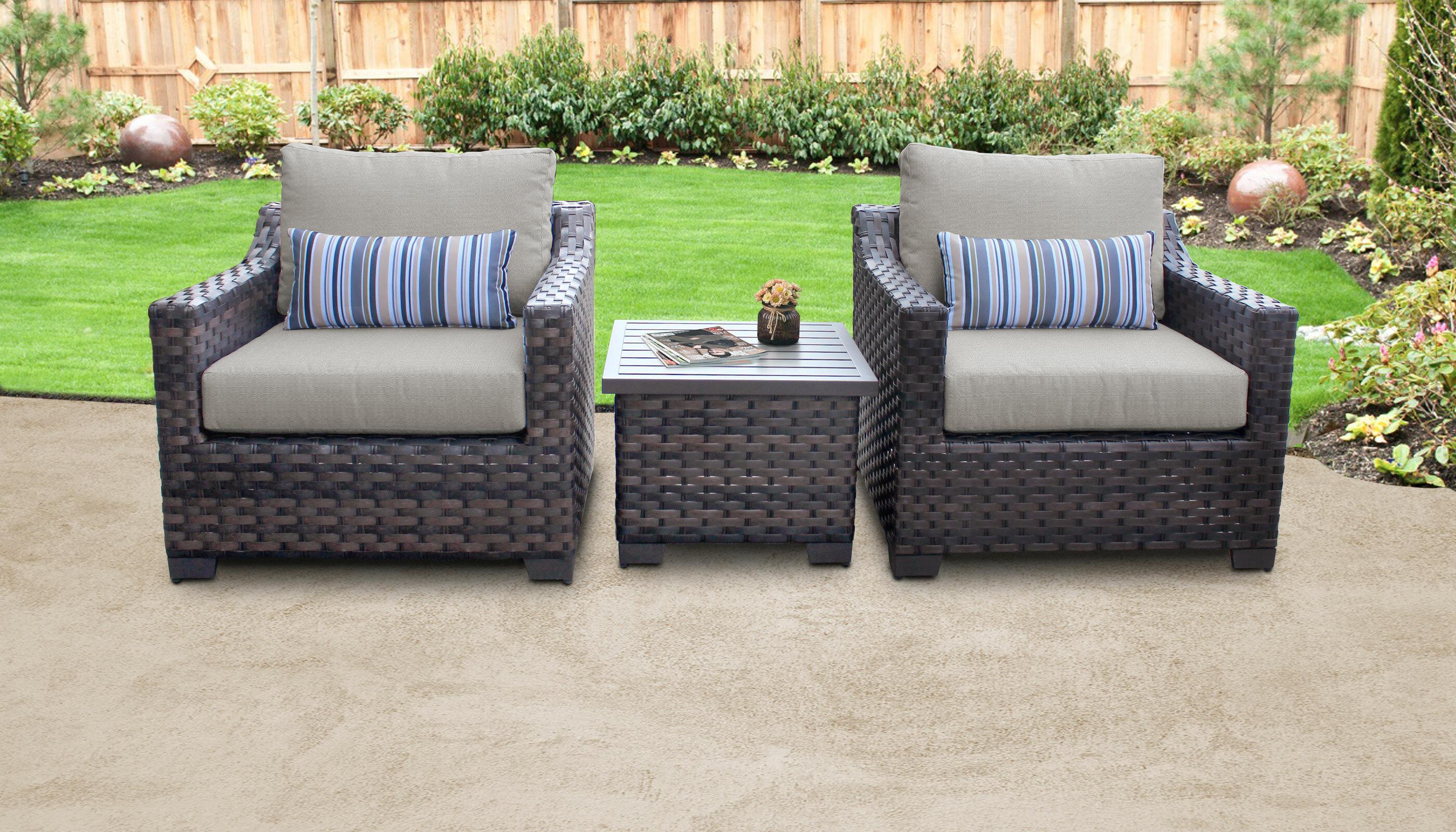 Red Barrel Studio Wrobel 3 Piece Outdoor Wicker Patio Furniture