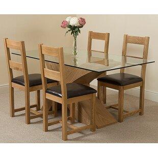Ediz Oak Dining Set With 4 Chairs By Ebern Designs