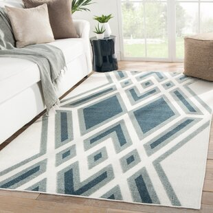 Tasma Geometric White/Blue Indoor/Outdoor Area Rug