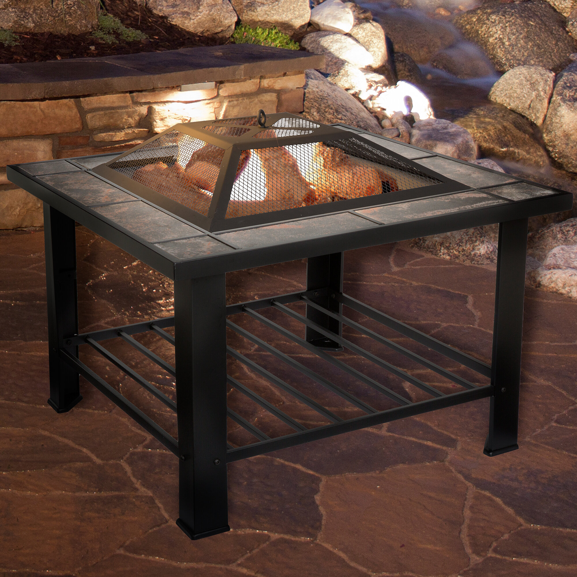 Pure Garden Steel Wood Burning Fire Pit Table & Reviews