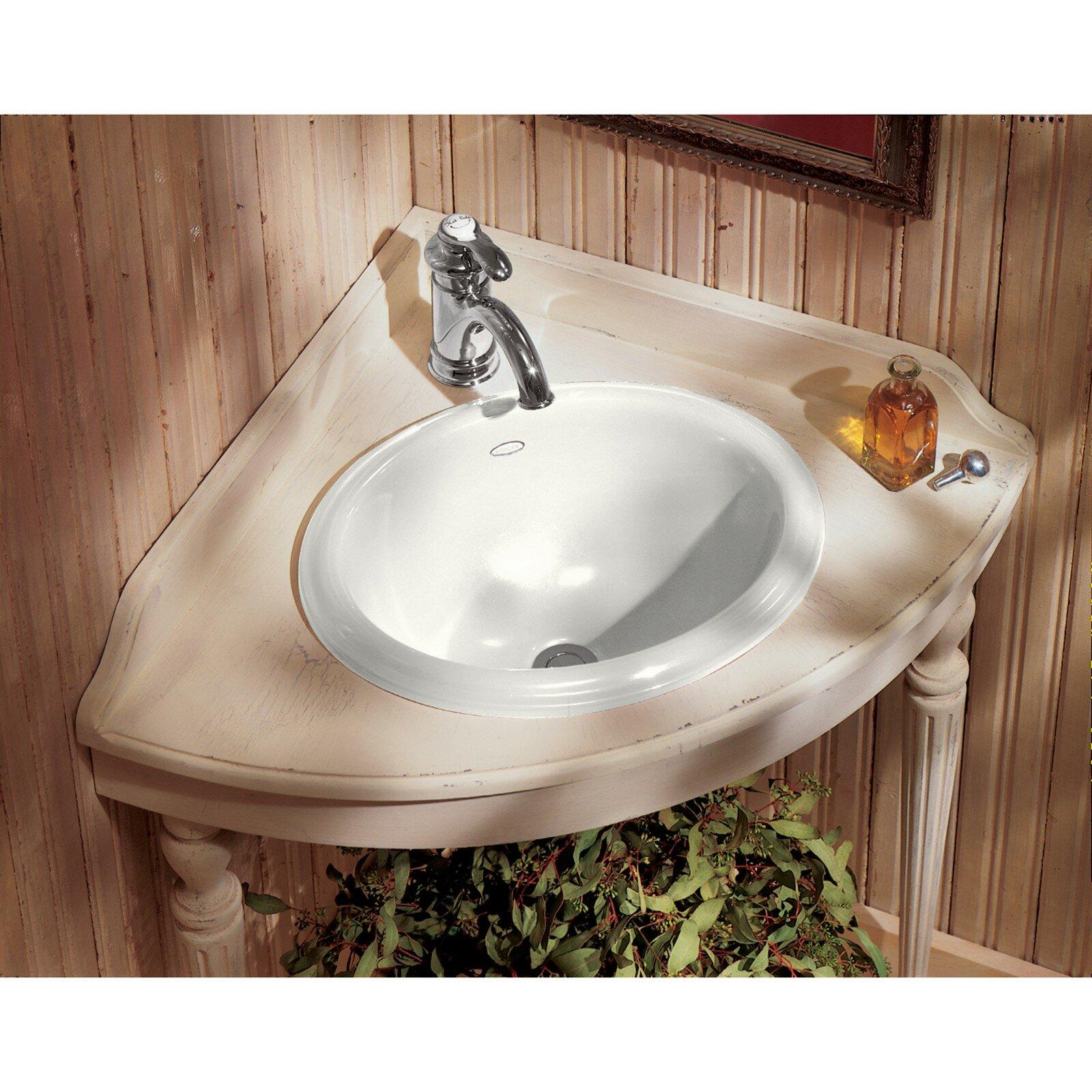 K-2292-0 Kohler Intaglio Ceramic Oval Drop-In Bathroom Sink & Reviews | Wayfair