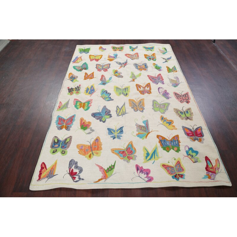 Astoria Grand One Of A Kind Blairwood Butterfly Embroidered Pakistan Handwoven Flatweave 5 3 X 7 6 Wool Ivory Green Area Rug Wayfair
