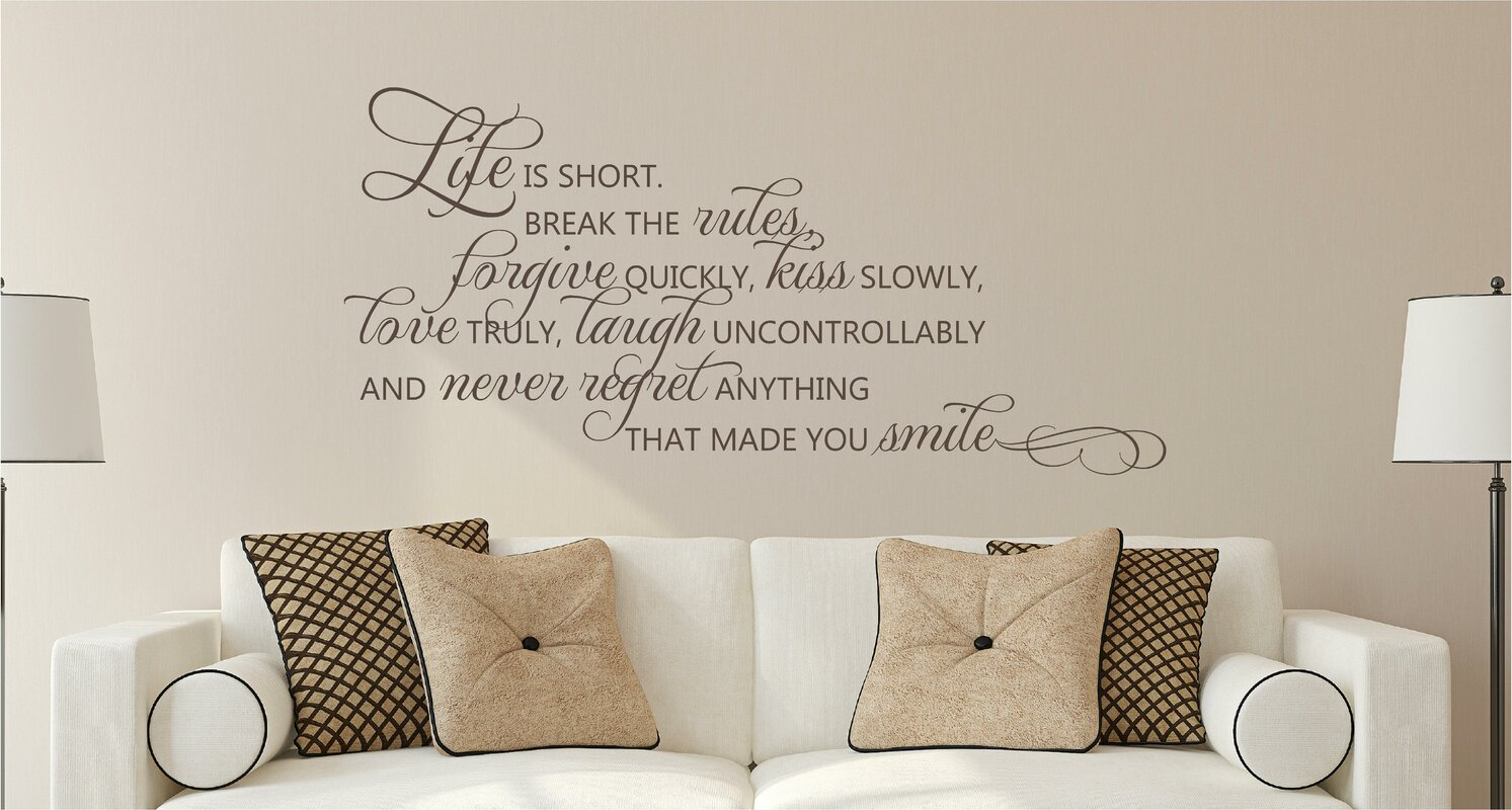 Enchantingly elegant life is short break the rules forgive for Kitchen cabinets lowes with wall art stencils quotes