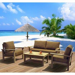Beachcrest Home Elsmere 4 Piece Teak Sofa Set with Cushions