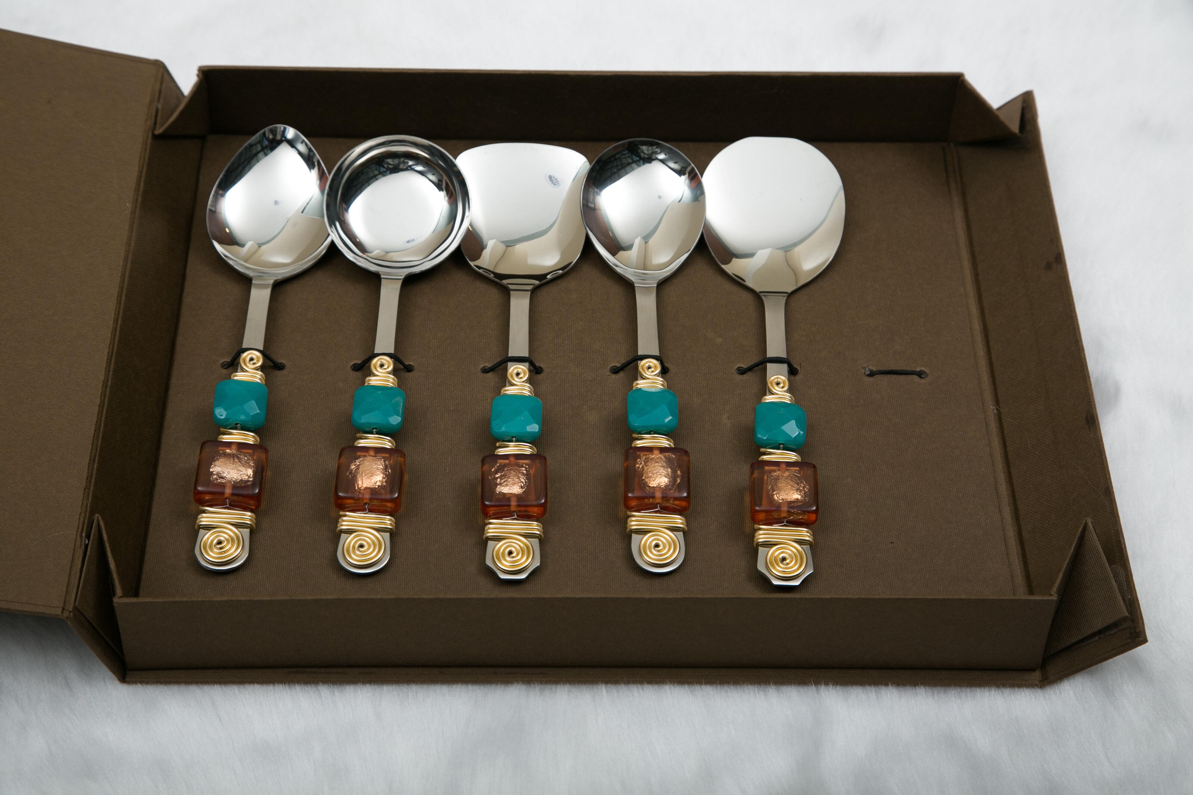 5-Piece Hostess Set Serving Utensil Kitchen Multi-Color Spoon Fork Sugar Shell