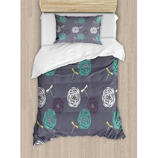 Dragonfly Bohem Modern Indian Inspired Minimalist Bugs and Flowers Print Duvet Set by Ambesonne