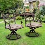 Mose Rocker Swivel Patio Dining Chair with Cushion (Set of 2) by Fleur De Lis Living