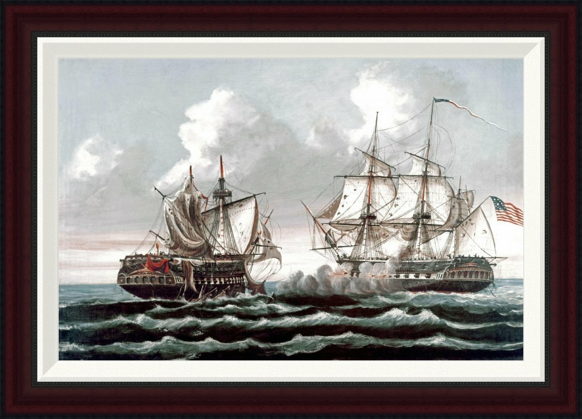 Global gallery uss quotconstitutionquot defeating the british for Best brand of paint for kitchen cabinets with iron man wall art