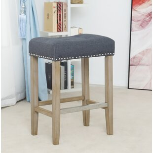 Dillan Wooden Linen Tufted Counter 27 Bar Stool (Set of 2) by Ophelia & Co.
