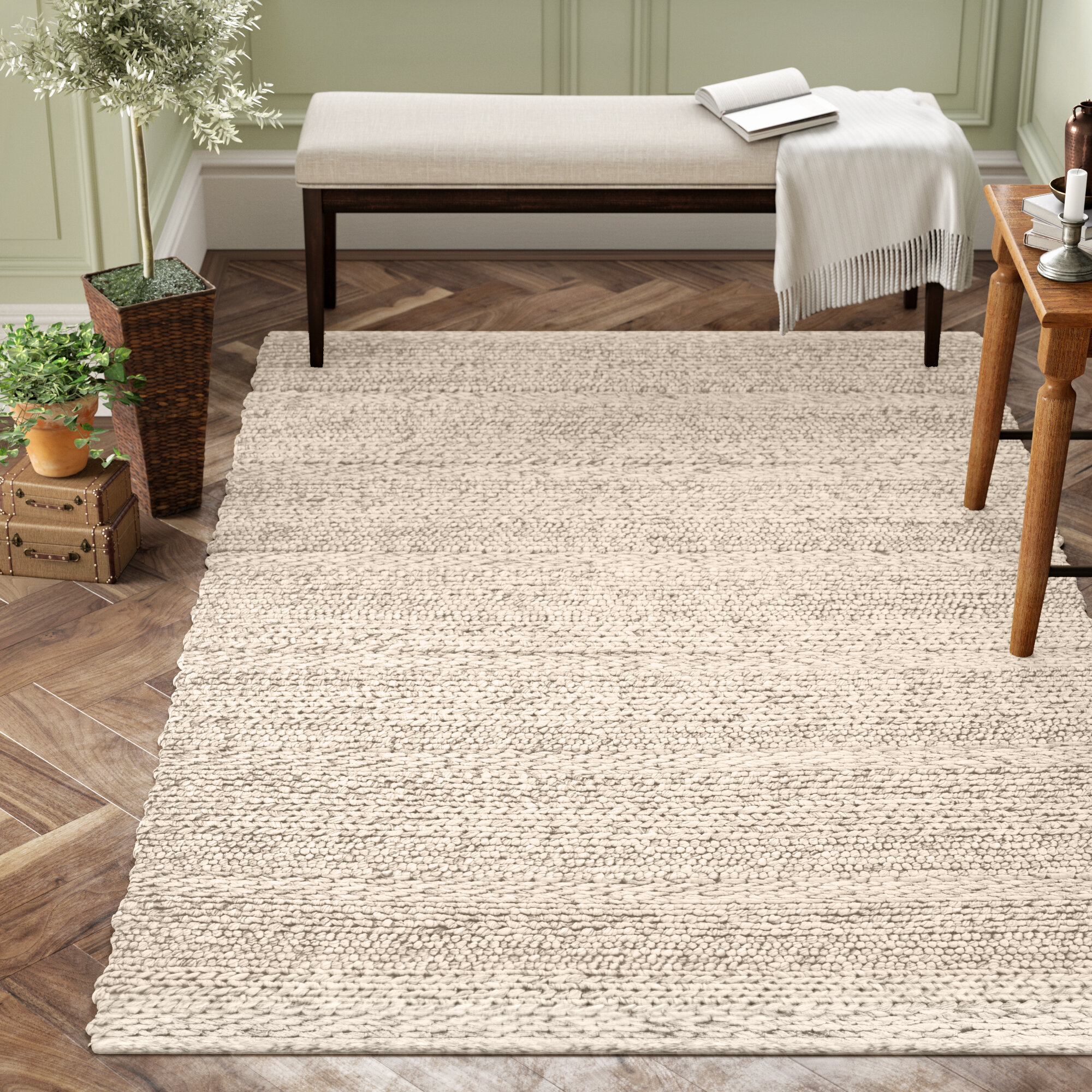 Beachcrest Home Othello Handwoven Wool Cream Rug Reviews Wayfair