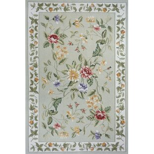 Top Brands of Andillac Hand-Hooked Wool Sage/Beige/Purple/White/Cream/Green Area Rug By August Grove