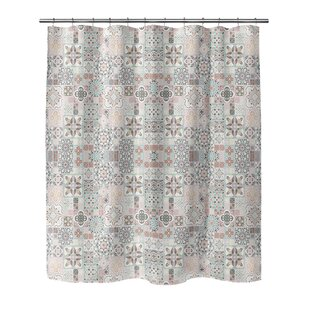 Chrisman Tiles With Rose Gold Shower Curtain