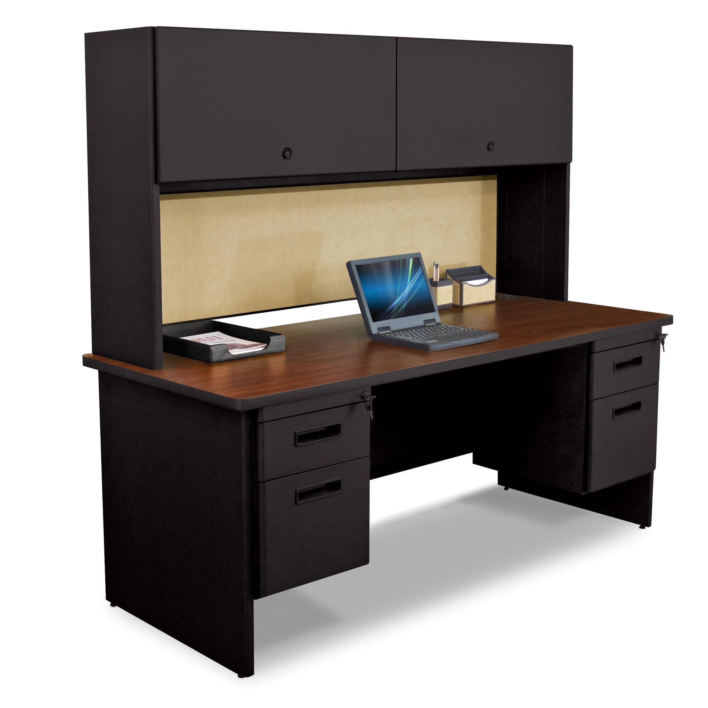 Crivello Flipper Door Cabinet and 42 Pedestal Computer Desk with Hutch
