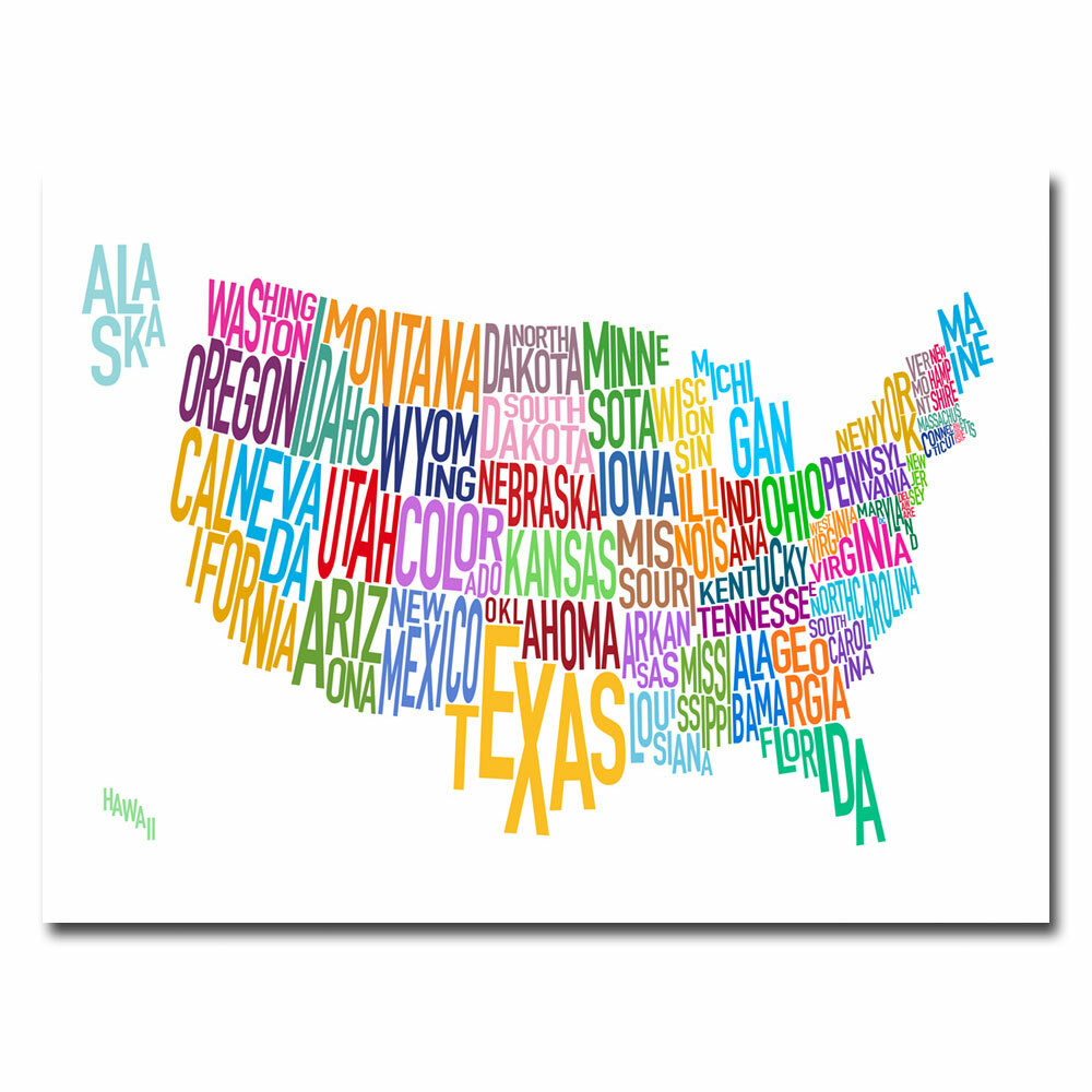 Trademark Art United States Text Map By Michael Tompsett Wrapped Canvas Graphic Art Print Wayfair