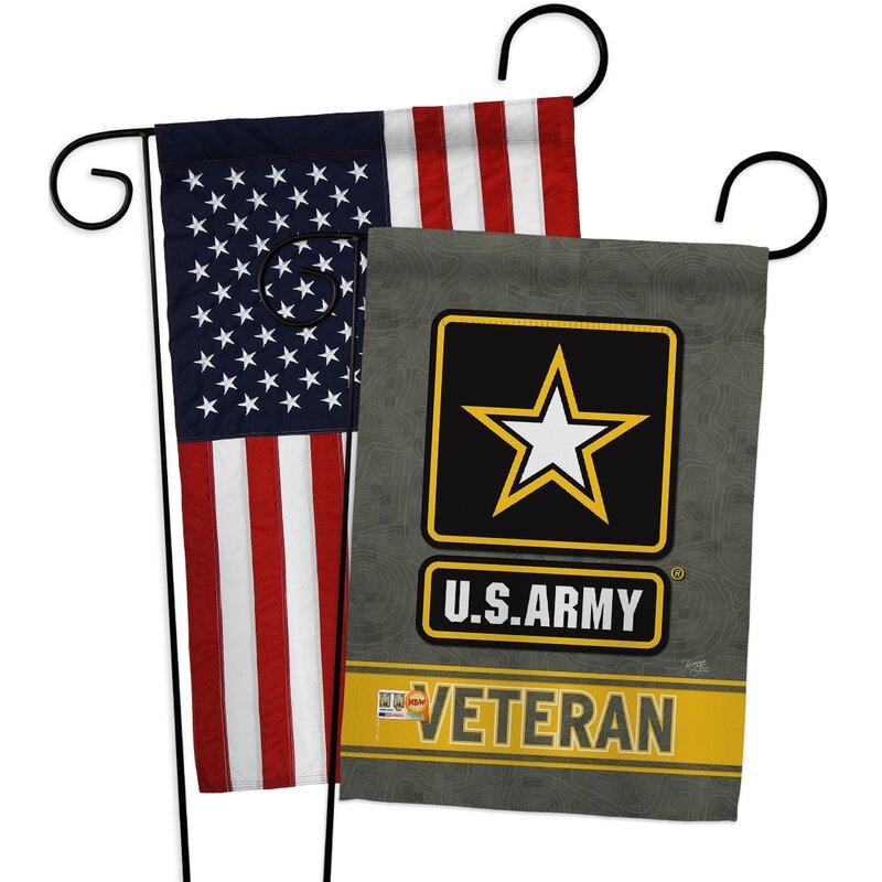 Breeze Decor American Army Veteran Impressions Decorative American Applique 2 Sided Polyester 19 X 13 In Garden Flag Wayfair