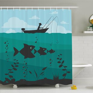Fishing Man in Boat Luring with Bobbins Nautical Marine Sea Nature Funky Image Shower Curtain Set