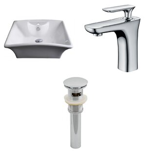 Find for Ceramic Rectangular Vessel Bathroom Sink with Faucet and Overflow ByAmerican Imaginations