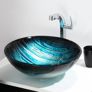 Ladon Glass Circular Vessel Bathroom Sink