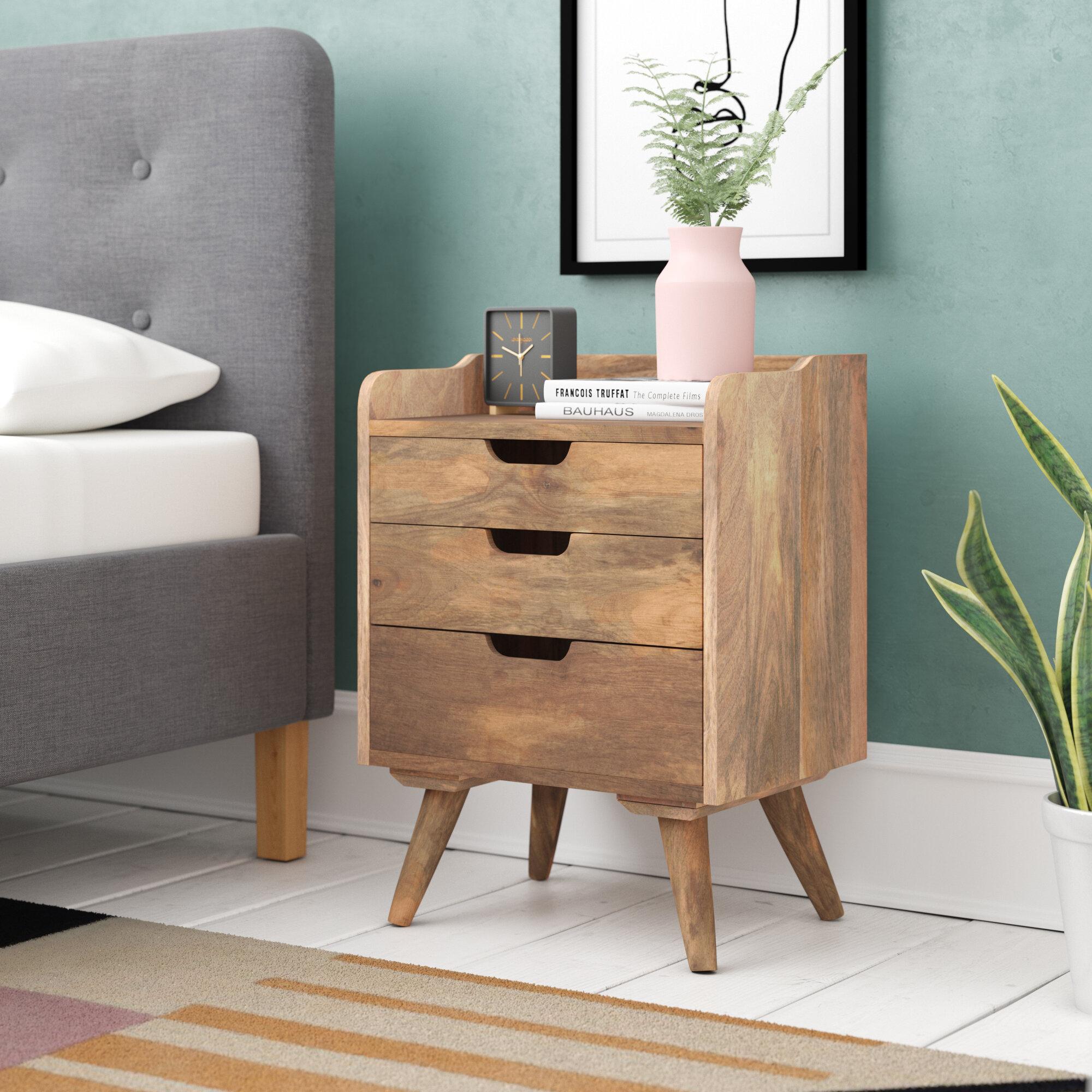 Hazelwood Home Solid Wood 3 Drawer Bedside Table Reviews Wayfair Co Uk