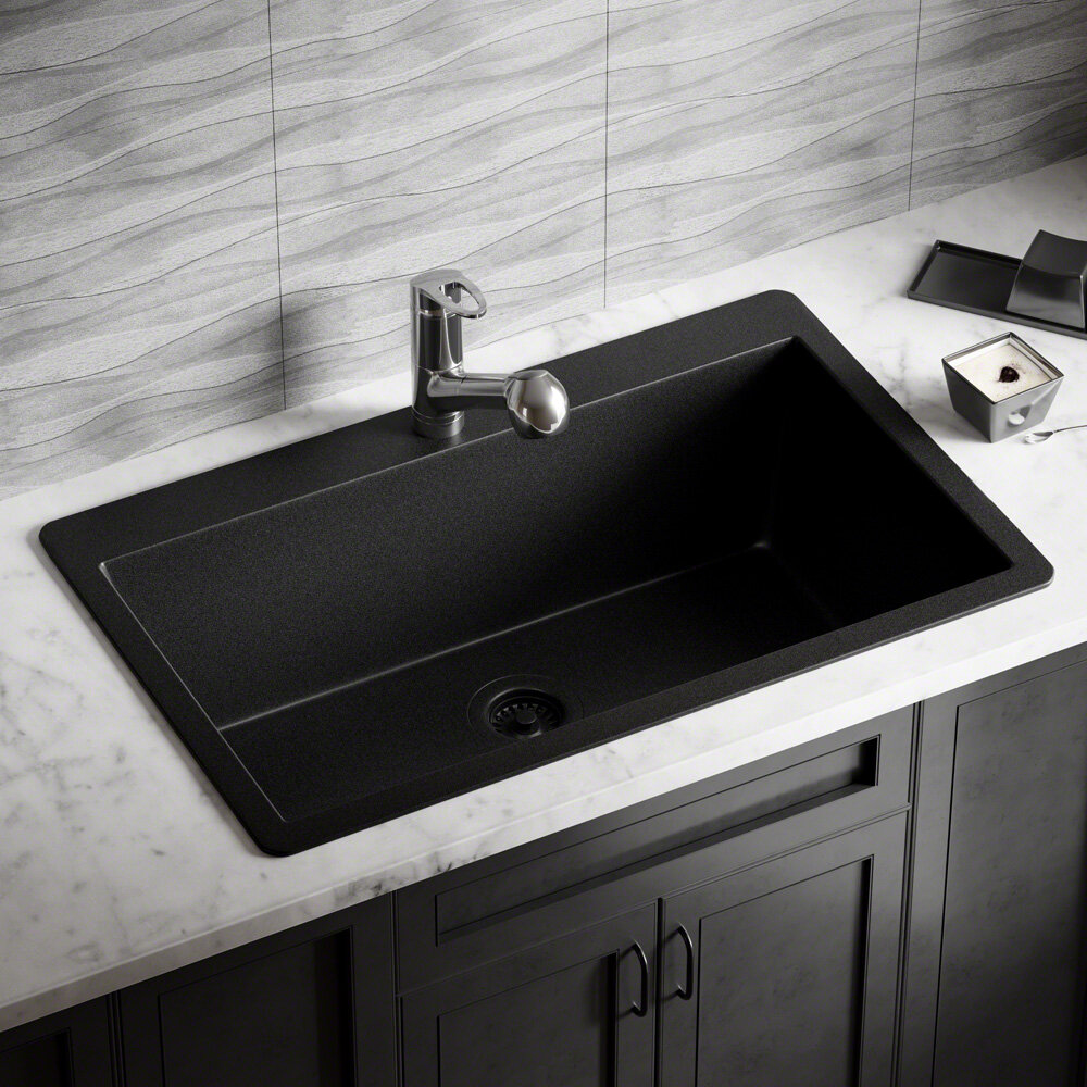 T848 Bl Cfl Granite Composite 33 L X 21 W Drop In Kitchen Sink With