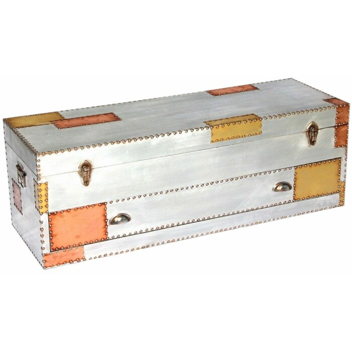 Aluminium And Copper Coffee Table Trunk With Drawer