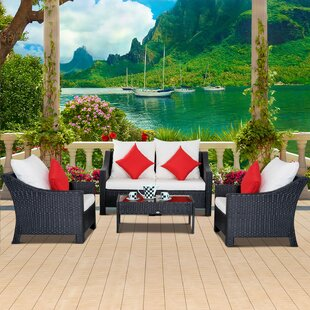 Arrington Outdoor 5 Piece Rattan Sofa Set with Cushions