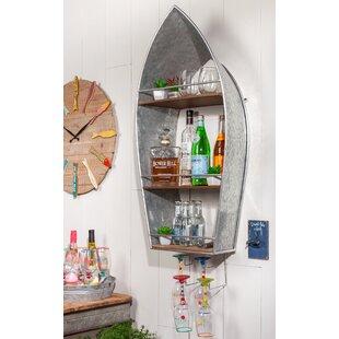Moon Metal Boat Bar with Wine Storage