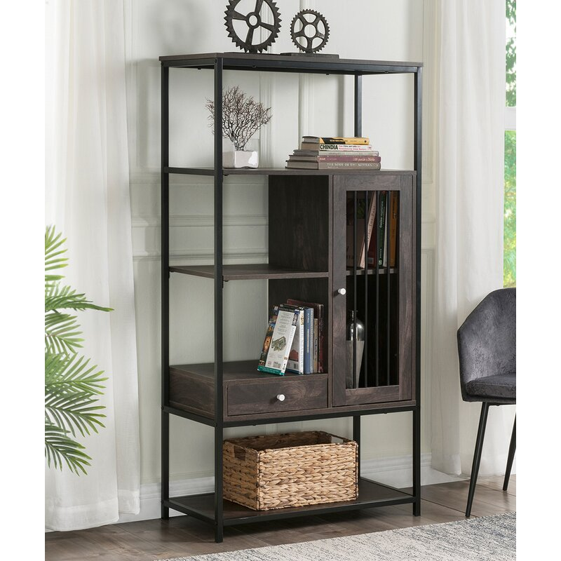 17 Stories 5 Tier Bookshelf Roll Over Image To Zoom In Industrial Bookcase With Doors And Drawers Storage Bookshelves Wayfair Ca