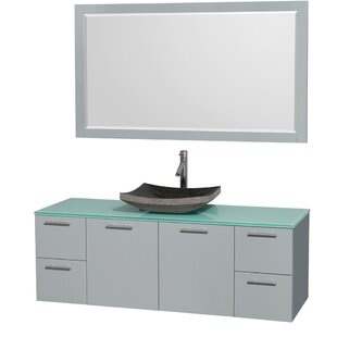 Amare 60 Wall-Mounted Single Bathroom Vanity Set with Mirror By Wyndham Collection