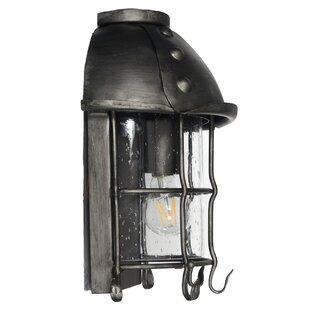 August Grove Sanders 1-Light Iron Outdoor Wall Lantern