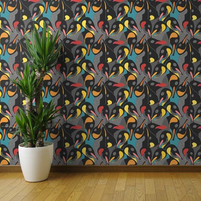Burstyn Abstract Penguins 27 L X 24 W Texture Wallpaper Roll