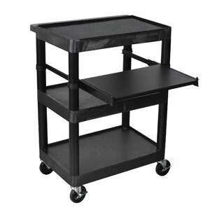 Luxor Sit Down AV Cart with Middle Shelf