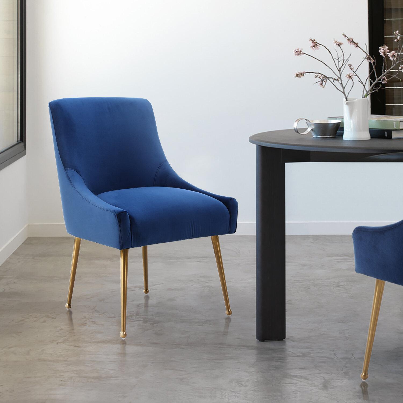 Picture of: Everly Quinn Sisler Velvet Upholstered Dining Chair Reviews Wayfair