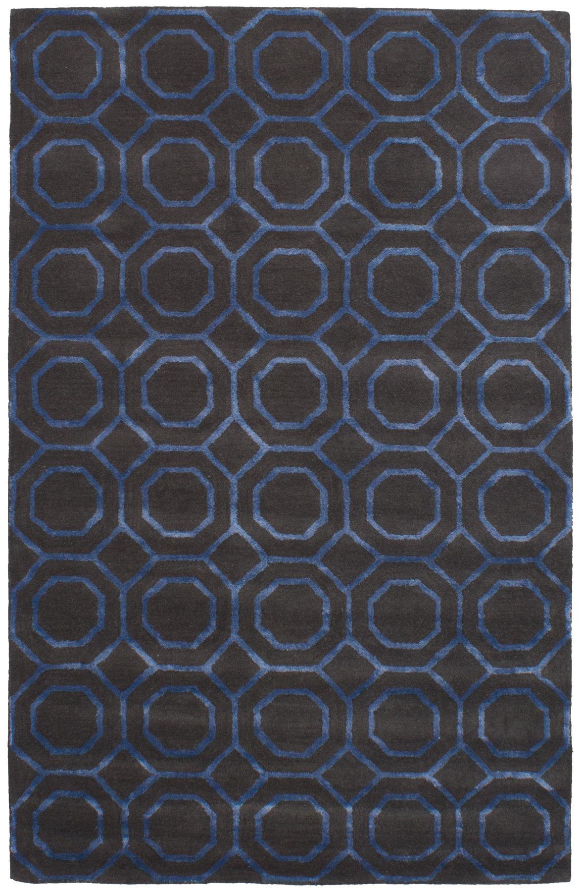 Ivy Bronx Griffing Hand Tufted Wool Silk Dark Gray Blue Area Rug Wayfair